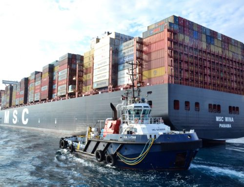 Boluda Towage Spain manoeuvres world's largest container ship in port of Algeciras